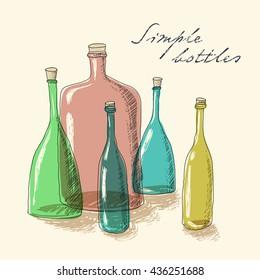 Hand drawn primitive vector set of colorful glass bottles