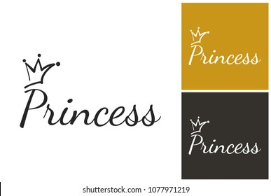 Hand drawn princess coronet. Luxury sign, graphic royal princess coronet. Isolated vector element on white, black, golden background. Clip-art icon for branding, t-shirt print, promo ads.