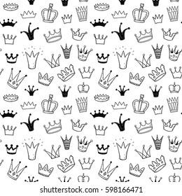 Hand drawn princess crowns doodle seamless pattern