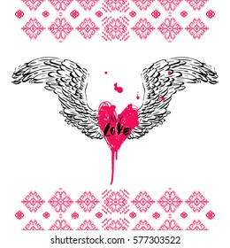 Hand drawn print for fashion textile. Illustration of wings and heart. Elements of traditional pattern, grunge style. Background with simple colors. Vintage design for card, poster, label, decoration