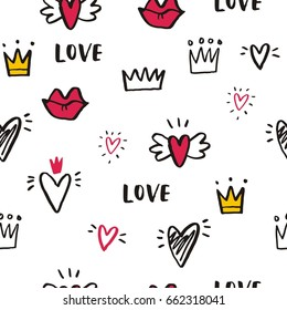 Hand drawn print with heart and crown