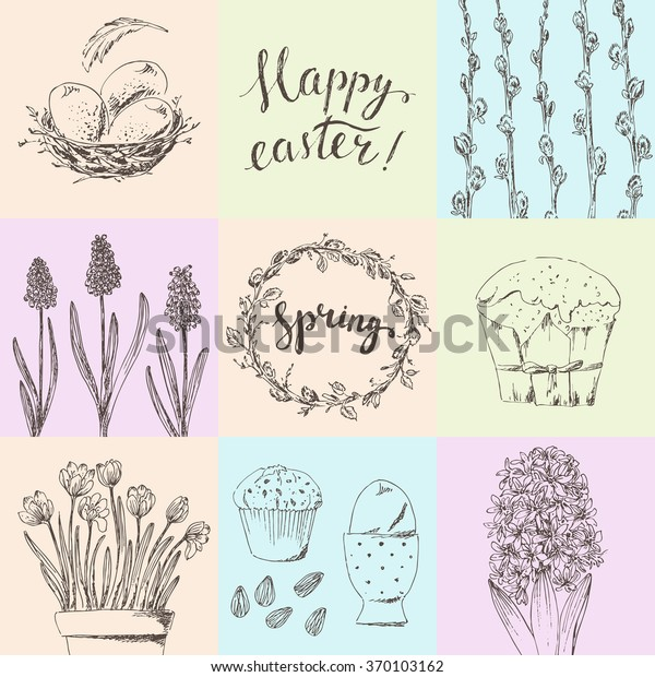 photograph about Happy Easter Cards Printable named Hand Drawn Printable Easter Card Mounted Inventory Vector (Royalty