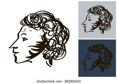 Hand drawn profile Alexandr Pushkin vector sketch inky portrait. Line art of great russian poet Pushkin.