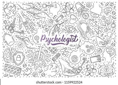 Hand drawn psychologist set doodle vector background