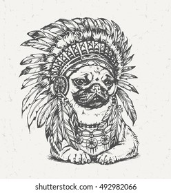 Hand Drawn Pug Wearing Feathered American Indian Chief Headdress. Vector Illustration in Boho Style.