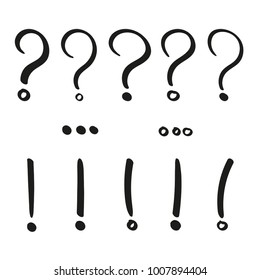 Hand drawn punctuation marks. Question, exclamination, ellipsis marks vector illustration set.