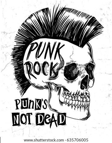 hand drawn punk rock skull slogan のベクター画像素材 ロイヤリティ