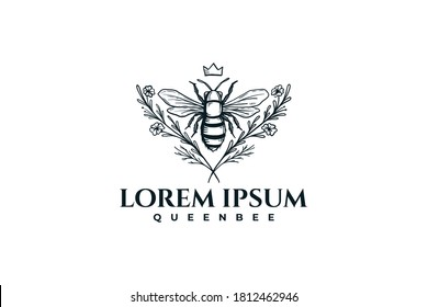Hand Drawn Queen Bee with Flowers Logo Inspirations Vector