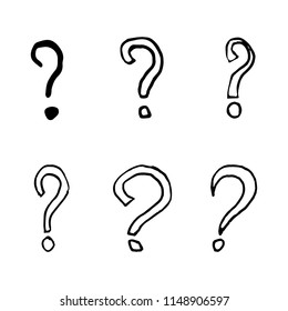 Hand Drawn question mark doodles set. Sketch style icons. Decoration element. Isolated on white background. Flat design. Vector illustration.