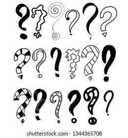 Hand drawn question marks set. Graphic faq, ask. Vector question. Isolated symbol.