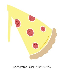 hand drawn quirky cartoon slice of pizza