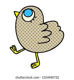 hand drawn quirky cartoon yellow bird