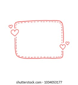 Hand drawn quote dashed line boxes. Doodle style. Cute lovely background for your love text. Vector illustration
