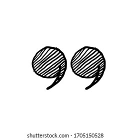 hand drawn Quotes icons. Quote marks comma, speech excerpt remark icon and citation commas or speech quotation mark.