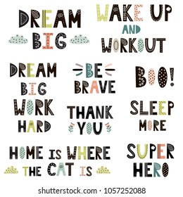 Hand drawn quotes in Scandinavian style set. Cute premade lettering phrases. Vector illustration