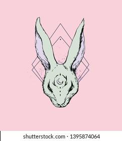 Hand drawn rabbit ink illustration print design