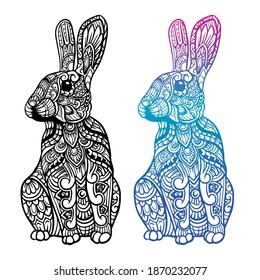 Hand drawn of rabbit zentangle arts . vector illustration