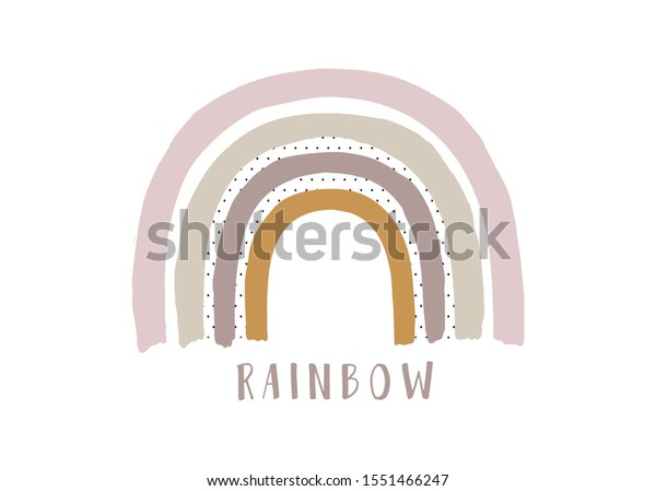 Hand drawn rainbow. Creative Scandinavian kids texture for fabric, wrapping, textile, wallpaper, apparel. Watercolor illustration.