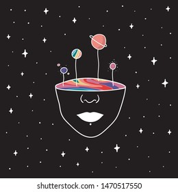 Hand Drawn rainbow planets in the space. Illustration girl with lgbt color inside. Drawing Vector Sketch for textile, print, postcard, text, invitation, poster, t-shirt, design, logo.