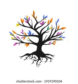 Hand Drawn Rainbow Roots Tree Concept Vector Illustration On White Background