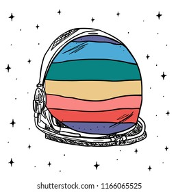 Hand Drawn rainbow space helmet art vector. Illustrations Drawing Vector Sketch for textile, print, postcard, text, invitation, poster, t-shirt, design,