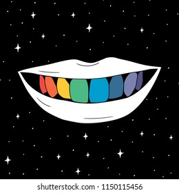 Hand Drawn rainbow teeth in smile mouth  card. Illustrations Drawing Vector Sketch for textile, print, postcard, text, invitation, poster, t-shirt, design,