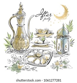 Hand drawn Ramadan Eid Iftar party food menu.  Arabian watercolor elements, sweets, lantern, moon vector design on white background for card, invitation, poster, banner.