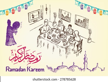Hand Drawn Ramadan Festivity Image Themes with Ramadan Kareem Greeting in Arabic Calligraphy and English version of it. Editable EPS10 illustration