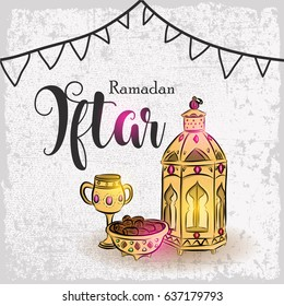 Hand drawn Ramadan Iftar with illustration of Blue Fanous Lantern and Sweet Dates for Islamic Holy Month, Ramadan Kareem, Iftar Party celebration.