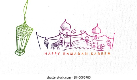 Hand Drawn Ramadan Kareem Background with Engraving Illustration of Fanous Lantern, Mosque and Arabian Desert. Vector eps.10