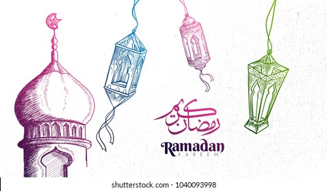 Hand Drawn Ramadan Kareem Background with Engraving Illustration of Fanous Lantern and Mosque. Vector eps.10
