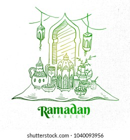 Hand Drawn Ramadan Kareem Iftar Party with Engraving Illustration of Fanous Lantern and Iftar Food. Vector eps.10