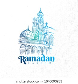 Hand Drawn Ramadan Kareem Mosque with grunge Background.Vector eps.10