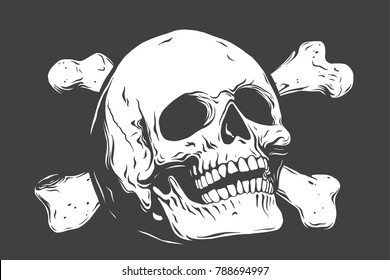 Hand drawn realistic human skull and bones. Monochrome vector illustration on black background.