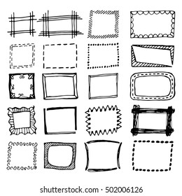 Hand drawn rectangle frames set. Cartoon vector square borders. Pencil effect shapes isolated.