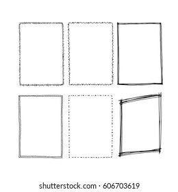 Hand drawn rectangular frames. Square vector illustration.