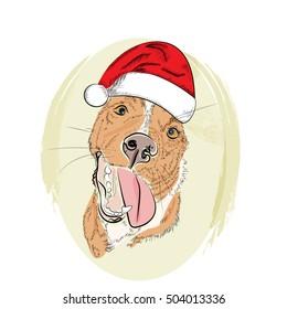 Hand drawn red dog smile in santa hat