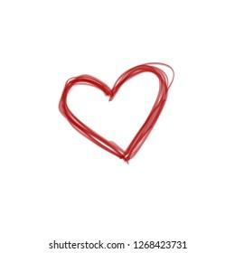Hand drawn. Red heart shape vector, love illustration. Romance concept