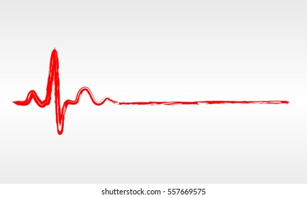 Hand drawn red heartbeat icon. Vector illustration. Heartbeat sign in flat design. Heartbeat isolated.