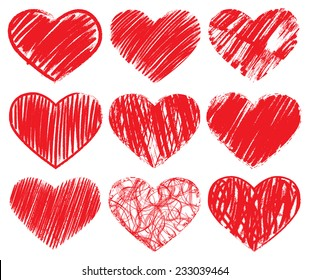 Hand drawn red hearts set. Vector