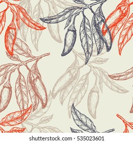 Hand drawn red hot chili peppers seamless pattern. Vector illustration