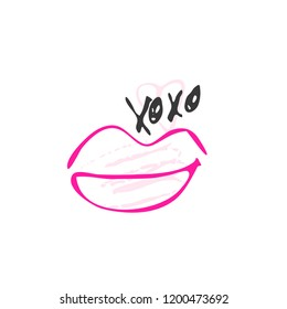 Hand drawn red lipstick with text. Sketched kiss symbol and fashion silhouette. Decor element for design. Vector, clipart, brush line.
