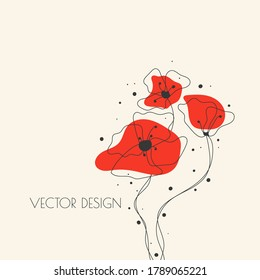 Hand drawn red poppy flowers. Vector illustration in minimalistic sketch style.