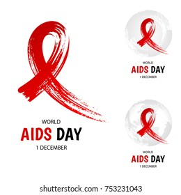 Hand drawn red ribbon, world aids day symbol, 1 december.