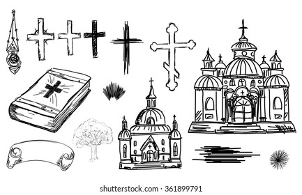 Hand drawn religion set in vector. Church, cross and bible in sketch