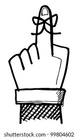 Hand drawn reminder ribbon on finger.