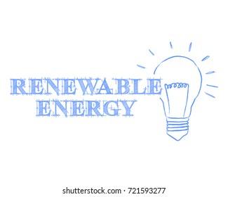 Hand drawn renewable energy sign and light bulb