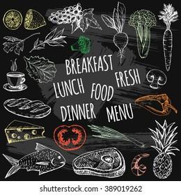Hand drawn restaurant chalk food on chalkboard background. Sketch food vector
