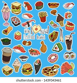 Hand drawn restaurant food, or cafe menu. Pizza, sushi, cup of coffee, fries, burger etc doodle set background