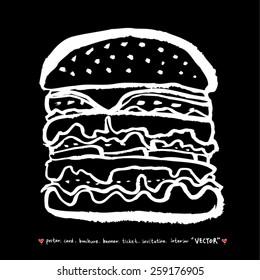 Hand drawn restaurant poster illustrations - vector